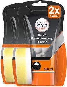 Veet for Men Dusch-Haarentfernungs-Creme | Enthaarungscreme für Männer 2x 150ml