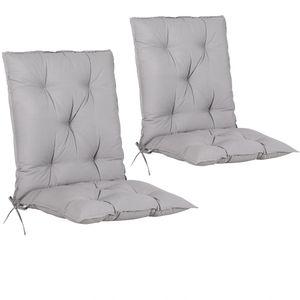 Detex 2er Set Stuhlauflage Auflage Cozy Hochlehner Stuhlauflage Sitzauflage Sitzkissen Gartenstuhl, Farbe:grau uni