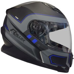 Integralhelm 62 Helm Motorradhelm Rollerhelm matt schwarz grau blau Gr. M Visier klar