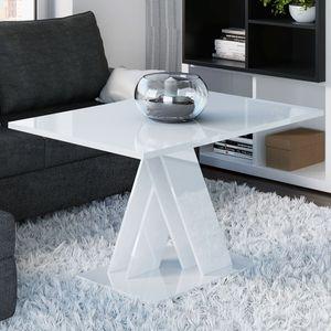 Selsey Couchtisch CATWORT - Wohnzimmertisch rechteckig mit X-Gestell,  Weiß Hochglanz, 120 x 60 cm