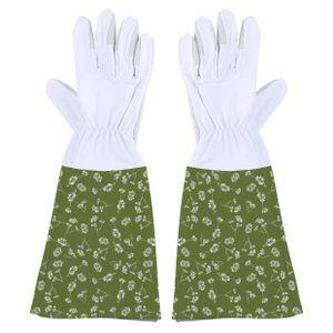 gartenhandschuhe Stulpe Leinwand / Leder grün Größe M