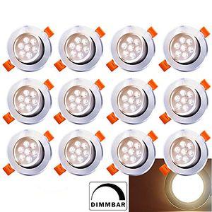 karpal LED Einbaustrahler Dimmbar Schwenkbar 12X 7W 230V Einbauleuchte LED Deckenstrahler Warmweiss Wohnzimmer Deckenleuchte Bad Deckeneinbauleuchte