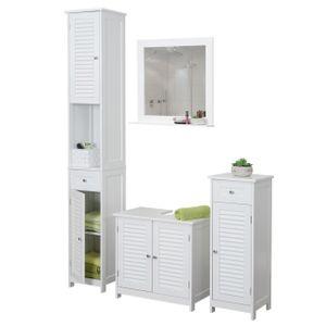 Badezimmerset HWC-F75, Badmöbel-Set Hochschrank Waschbeckenunterschrank Kommode Wandspiegel, Landhaus weiß