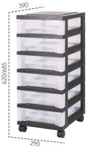IRIS OHYAMA Rollcontainer 6 flache Schubladen, schwarz-transparent 6159