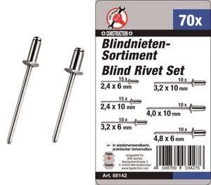KRAFTMANN 88142 Blindnieten-Sortiment 70-tlg.