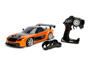 Jada Toys Fast & Furious RC Drift Mazda RX-7, RC Auto, ferngesteuertes Auto mit Funkfernsteuerung, Driftfunktion, Allradantrieb, 4 Ersatzreifen, USB Ladefunktion, inkl. Batterien, Maßstab 1:10, orange