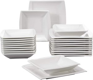 MALACASA, Serie Blance, Cremeweiß Porzellan Tafelservice Set mit 12 Speiseteller und  12 Suppenteller