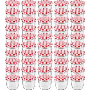 WELLGRO® Einmachgläser mit Schraubdeckel - 230 ml, 8,5 x 6,5 cm (ØxH), Glas / Metall, rot karierte Deckel To 82, Gläser  Germany, verschiedene Mengen wählbar, Stückzahl:50 Stück