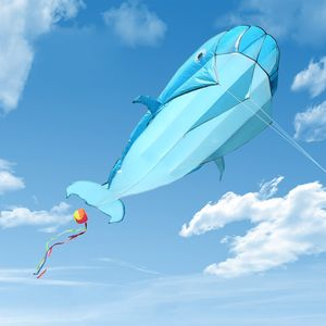 3D Drachen Riesiger rahmenloser weicher Parafoil-Riesenwal-Drachen für Kinder Erwachsene, Blau Flugdrachen kinderdrachen 110 * 200cm, mit Aufbewahrungstasche