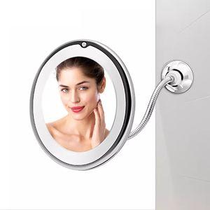 MEIYOU 10-fach LED Schminkspiegel  Vergrößerung Badezimmer Kosmetikspiegel mit Saugnapf