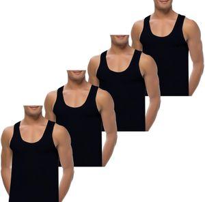 4 Herren Unterhemden extralang long 100% Baumwolle 5 / S Schwarz