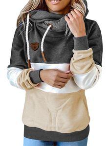 Damen nähen Kapuze Sweatshirt lose Hoodie Langarm Top,Farbe: schwarz,Größe:L