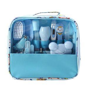 Baby Pflegeset 13-teiliges Baby Pflege Produkte Baby Pflegeset Erstausstattung Nagel und Nasen Pflege mit Tasche mit Handtasche (Blau)