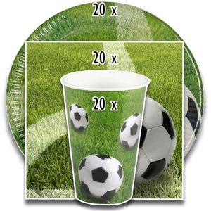 tradingbay24 Party-Set Fußball (60-teilig: Servietten, Teller, Becher) tbK0048 Einweg-Party-Set Party-Deko-Set Football Soccer