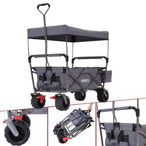 AREBOS Bollerwagen Faltbar mit Dach Standard Handwagen Klappbar Gerätewagen Grau