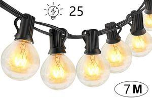 Lichterkette Außen Glühbirnen,7 M25led G40 Birnen  , Lichterketten für Party Garten, Warmweiß