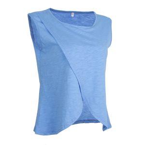 Umstandskleidung Tank Tops Doppelschichten Ärmelloses T-Shirt Blau M Solide wie beschrieben