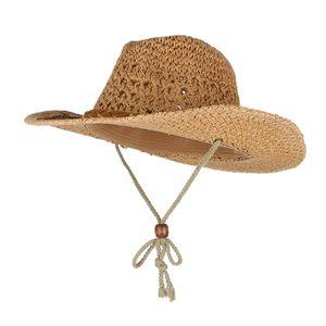 Erwachsene Kind Cowboy-Hut Sommerhut Strohhut mit Kinnriemen Größe Erwachsene Farbe Khaki
