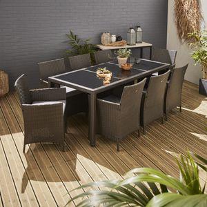 Gartengarnitur 8 Personen - Tavola 8 Grau - Polyrattan, 195 cm Tisch, graue Kissen, 8 Sessel
