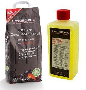 LotusGrill Buchenholzkohle 2,5 kg Sack inkl. LotusGrill Brennpaste 500 ml, beides entwickelt für raucharmes Grillen mit dem LotusGrill