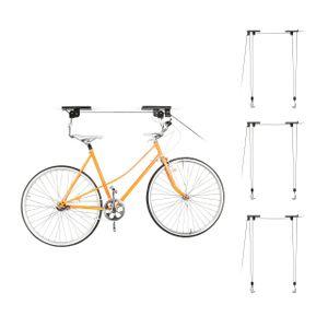 relaxdays 4er Set Fahrradlift Fahrradaufzug Fahrradhalter Fahrradlifter Decke 4 Fahrräder