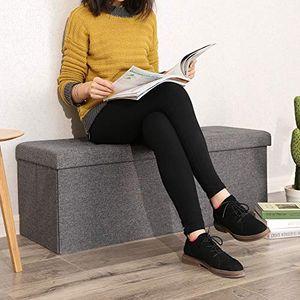 SONGMICS Sitzbank mit 120 L Stauraum | Sitzruhen faltbar aus Leinen | 110 x 38 x 38 cm dunkelgrau LSF77K