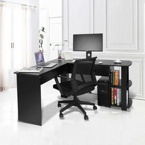 Eckschreibtisch Computertisch Winkelkombination Schreibtisch Arbeitstisch Schwarz 140cm