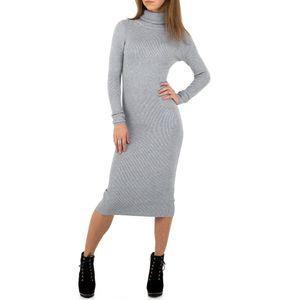 Ital-Design Damen Kleider Strickkleider Grau Gr.l/Xl