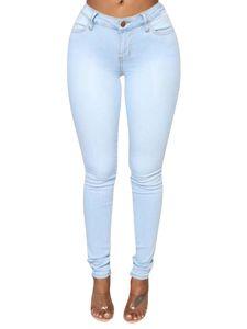 Sexydance Frauen Jeans Jeggings Denim Hohe Taille Bleistifthose Skinny Leggings Hose,Farbe:Hellblau,Größe:3XL