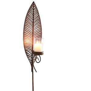 Gartenstecker Dekostecker Blatt Windlicht Kerzenlicht Gartenlicht