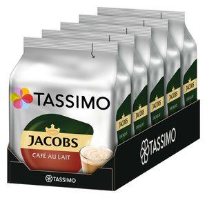 Tassimo Jacobs Café au Lait 5er Pack, Kaffee, Kaffeekapsel, Milchkaffee aus gemahlenem Röstkaffee, 80 T-Discs / Portionen