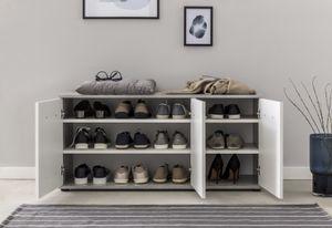 Wilmes - Schuhkommode mit 3 Türen, Beton / Weiß Melamin Nachbildung