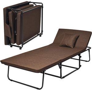 GOPLUS 3 in 1 Klappbett mit Metall-Rahmen, Belastbar bis 150 kg, Gästebett mit drehbaren Rollen, inkl. Matratze und Schutzhülle, 6 stuffiger vertsellbare Liege, Faltbett für Reisen