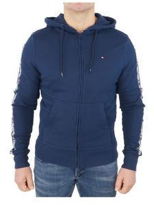 Tommy Hilfiger Herren Zip Logo Tapping Hoodie, Blau XL
