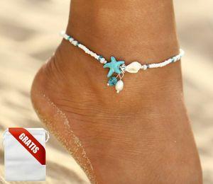 Fußkettchen Damen Strand Muschel Perle Seestern Türkis Weiß Fußkette Fusskette