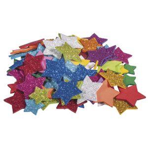 Moosgummi Sterne mit Glitter, 100 Stück