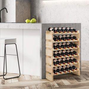 COSTWAY Weinregal Holz, Weinständer für 36 Flaschen, 6-stöckiger Stapelbarer Flaschenregal, Holzregal stabil, Weinschrank Flaschenständer 63x25x85cm
