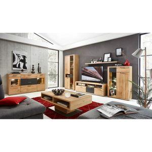 Wohnzimmer Wohnwand Set Wildeiche massiv BOZEN-36 inkl. Sideboard und Couchtisch, B x H x T ca.: 330 x 199 x 48 cm