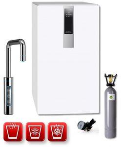 Einbau-Tafelwasseranlage BLACK & WHITE HOT DIAMOND (Option CO2 Eigentumsflasche: 2kg CO2 Flasche / Armatur: U-Auslauf / Farbe: weiß)