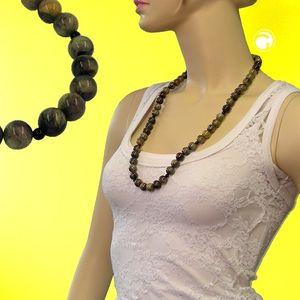 Kette, Perlen 12mm oliv-schwarz-marmor