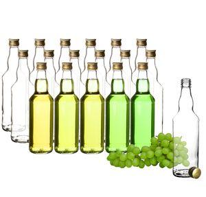 18x Glasflaschen 500ml mit Schraubverschluss in Gold - Flasche zum Befüllen