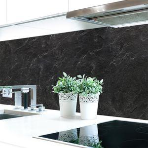 Küchenrückwand Schiefer Schwarz Premium Hart-PVC 0,4 mm selbstklebend - Direkt auf die Fliesen, Größe:400 x 60 cm