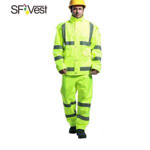 SFVest Hohe Sichtbarkeit Reflektierende Regenbekleidung Anzug Verdickt Leucht Sicherheit Regenmantel Anzug Outdoor Wandern Reiten Männer und Frauen Wasserdichte Oxford Tuch Beschichtung
