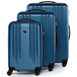 FERGÉ 3er Kofferset Marseille ABS Dure-Flex royal-blau 3er Hartschalenkoffer Roll-Koffer 4 Rollen Kofferset Hartschale 3-teilig