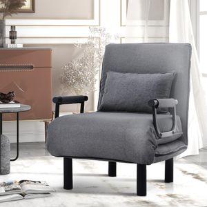 Merax 3 in 1  Schlafsessel umwandelbar Schlafsofa  klappbar Fernsehsessel Relaxsessel mit verstellbarer Rueckenlehne und Kissen, Sofabett Liegestuhl aus Leinen, Grau