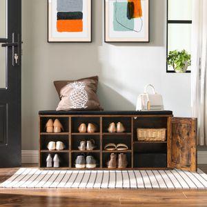 VASAGLE Schuhschrank mit 9 Fächern und Tür 110 x 30 x 48 cm Schuhe bis Größe 44 Schuhregal mit Polsterung 200kg belastbar vintagebraun LHS058X01