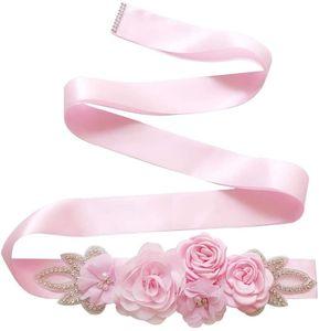 Handgemachte Rose Flower Pearl Bridal, Gürtel Hochzeit Gürtel, Schärpen Strass Kristallperlen, Rosa