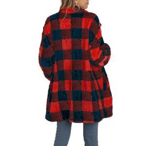 Damen kontrastierender karierter langer Mantel aus Wolle, schmales Oberteil,Farbe: rot,Größe:M