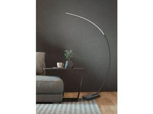 Puristische schmale LED Bogenlampe in Schwarz matt mit Dimmer & großer Ausladung