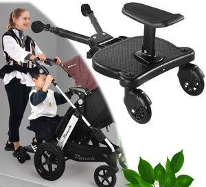 NightyNine Kiddy Board, Buggyboard mit Zusatzsitz, Kinderbuggy Trittbrett mit Sitz Trittbrett für Kinderwagen Buggyboard, Kinderwagen Buggy bis 25 kg